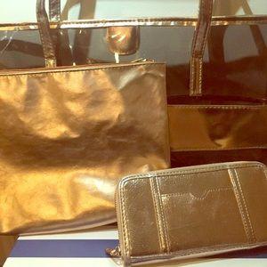 Handbags - Rose Gold Bag W/ Matching Wallet and Makeup Bag